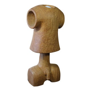 Vintage Wooden Figural Torso Table Lamp