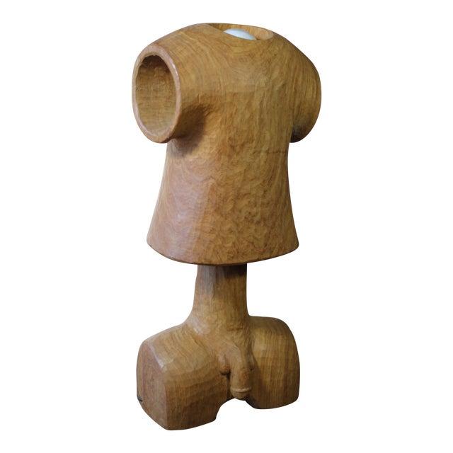 Vintage Wooden Figural Torso Table Lamp For Sale