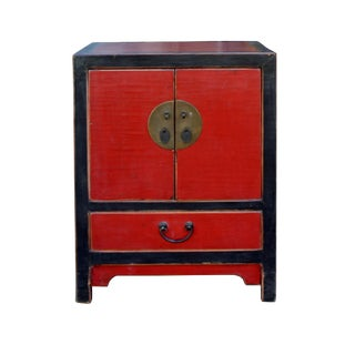 Chinese Distressed Black Red Lacquer End Table Nightstand Cabinet