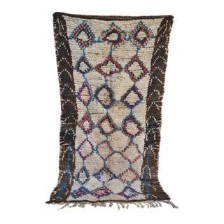 Azilal Vintage Moroccan Modern Design Rug - 4′1″ × 7′9″ For Sale