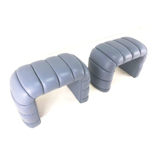 Channelled Leather Waterfall Benches - a Pair For Sale - Image 4 of 9