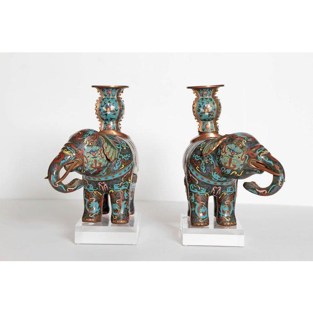 Asian Pair of Chinese Cloisonne Elephants For Sale - Image 3 of 13