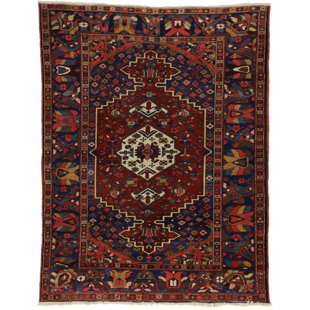 Textile Antique Bakhtiari Persian Rug with Traditional Modern Style For Sale - Image 7 of 8