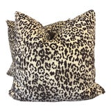 """Image of Panther Velvet in Brown 22"""" Pillows-A Pair For Sale"""