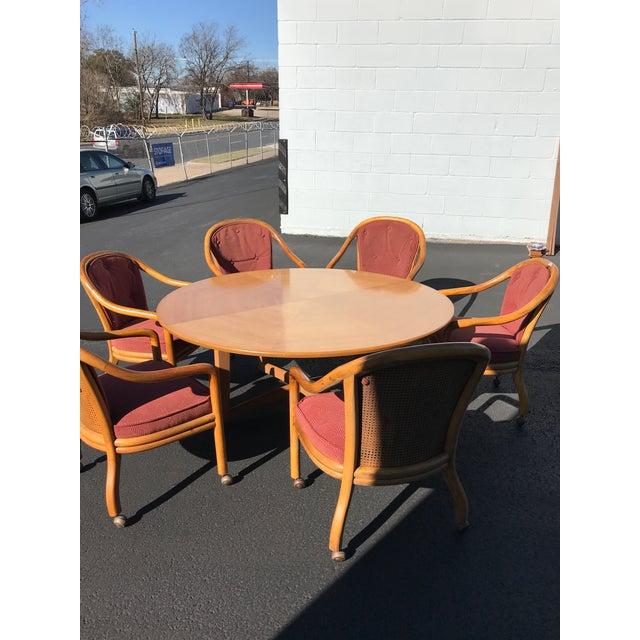 MidCentury Oak Wood Inlay X Base Dining Table Or Card Table Chairish - Mid century oak dining table