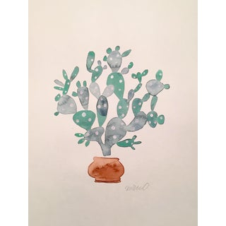 Contemporary Sage Cactus Watercolor Painting For Sale