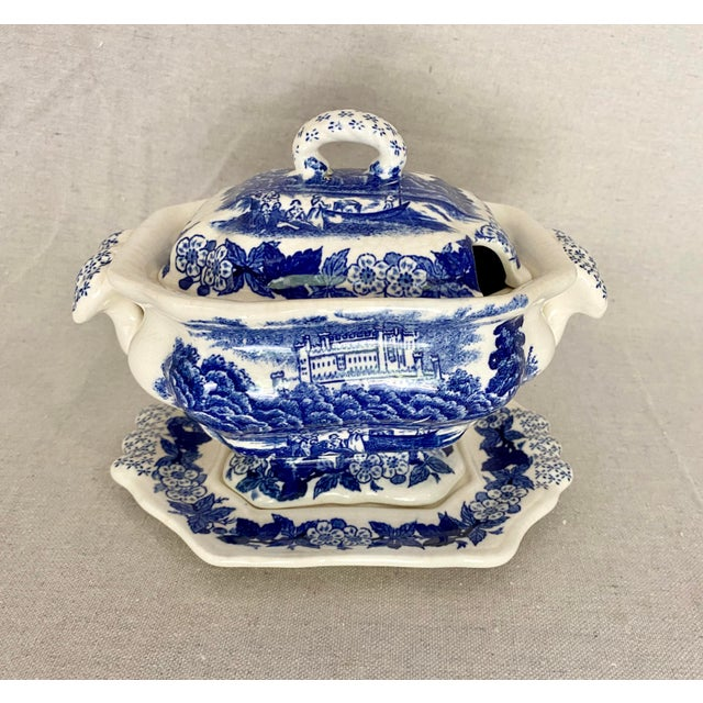 Vintage Blue and White Gravy Boat For Sale - Image 13 of 13