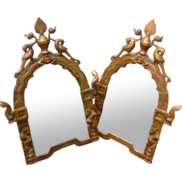 Gilded Brass Temple Mirrors - A Pair - Image 1 of 4