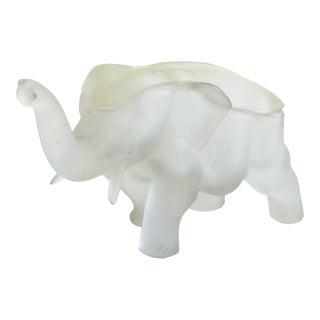 Vintage White Satin Glass Elephant Box For Sale