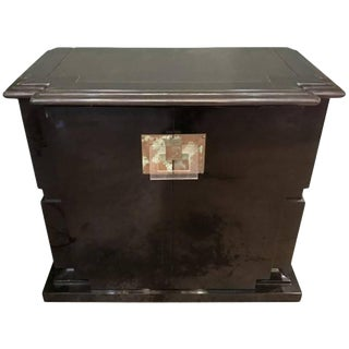 High-Style Lacquered Wood, Acrylic and Patinated Metal Two-Door Cabinet For Sale