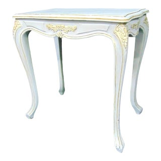 Louis XV Style Carved White & Gold Painted Side Table For Sale