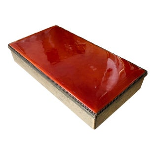 Mid Century Modern Tangerine Enamel Box by Evans