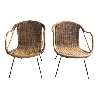 Mid-Century Rattan Chairs - a Pair For Sale