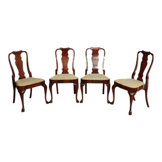 Hickory Chair Queen Anne Set 4 Balloon Seat Dining Chairs For Sale