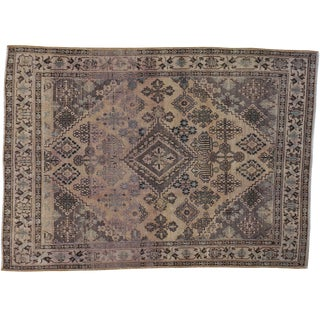 "Vintage Persian Josheghan Distressed Rug- 3'5"" x 4'9"""