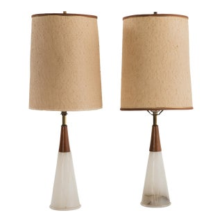White Conical Mid-Century Modern Marble & Walnut Italian Bedside Table Lamps With Shades - a Pair For Sale