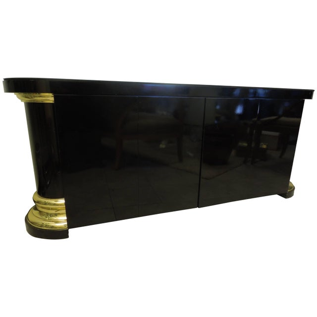 Masculine and Sexy Black and Brass Vintage 1970s Sideboard For Sale In Palm Springs - Image 6 of 6