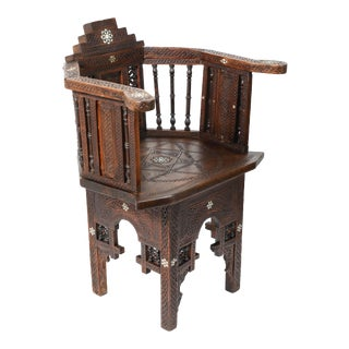19th Century Antique Moorish Armchair Hand-Carved and Inlaid With Mother-Of-Pearl For Sale