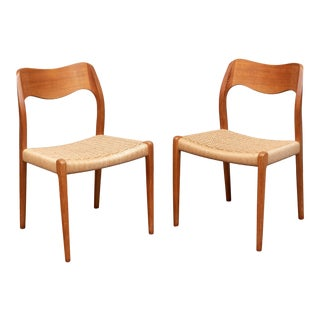 Vintage Niels Otto Moller Danish Modern Dining Chairs - a Pair For Sale