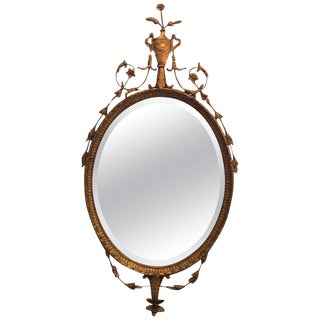Adam Style Giltwood Beveled Mirror For Sale