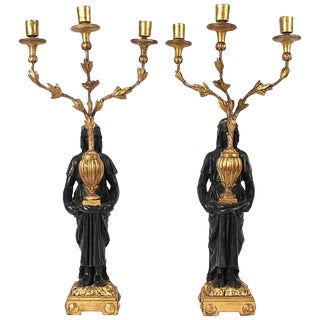 Pair of Early 19th Century Italian Neoclassical or Empire Figural Candelabra For Sale