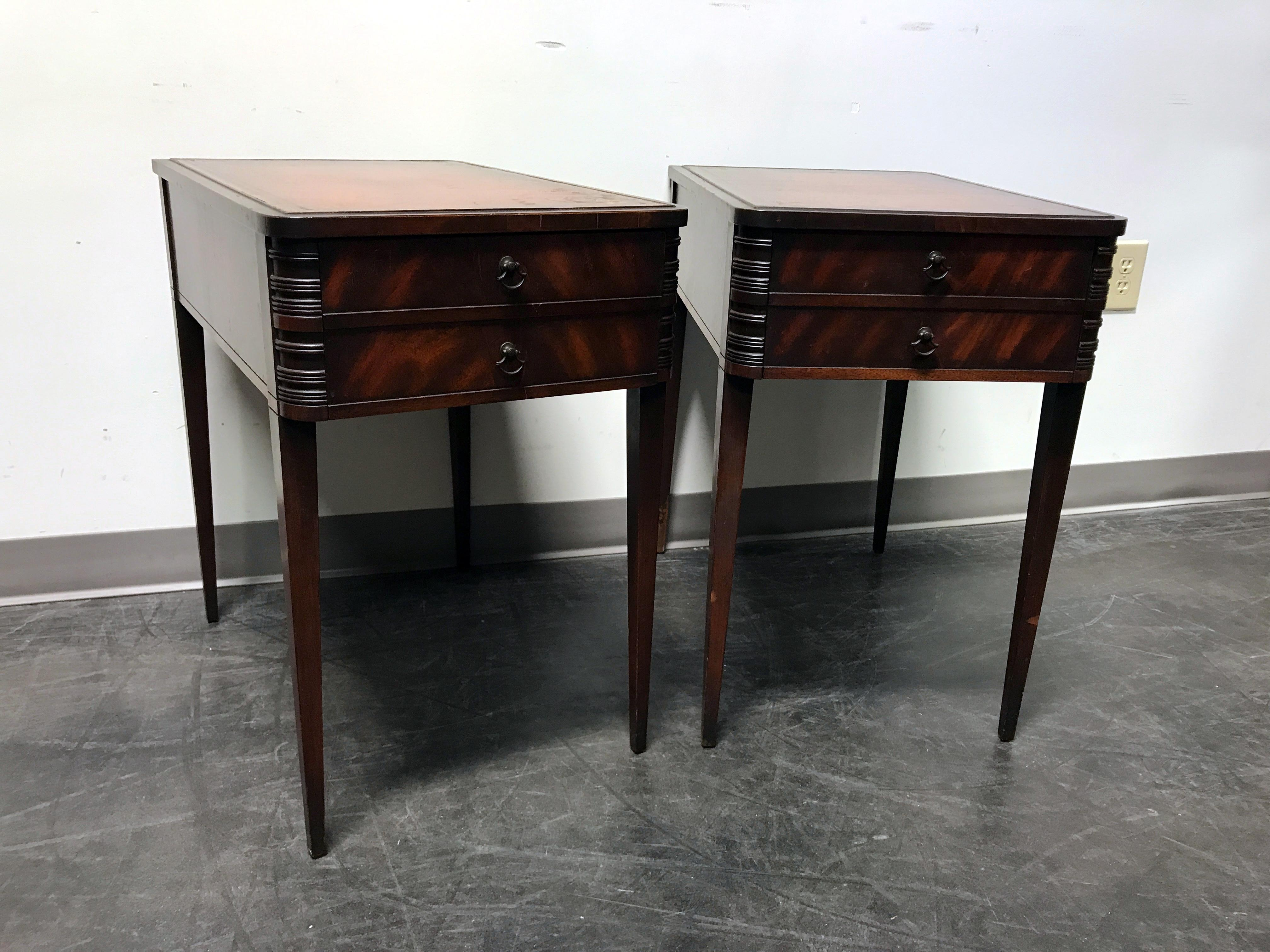 Vintage Leather Top Mahogany End Tables  A Pair   Image 4 Of 11