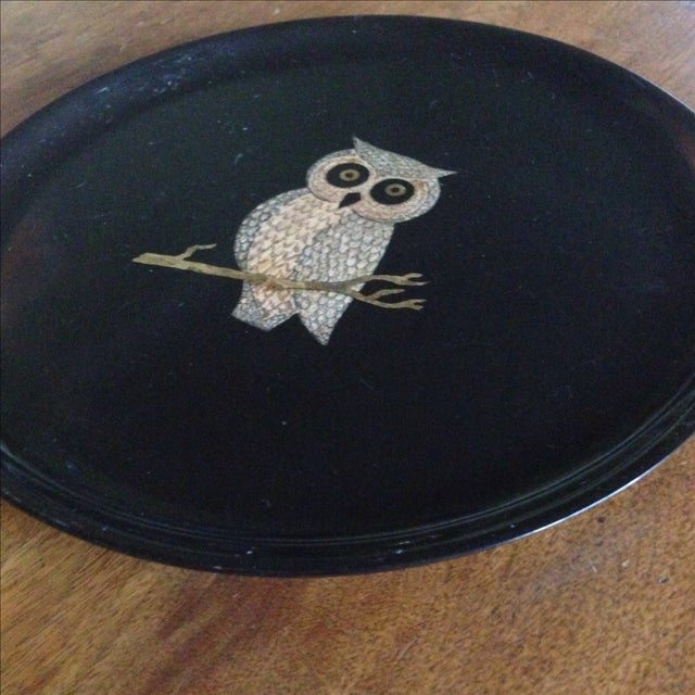 Vintage Couroc of Monterey Owl Tray For Sale - Image 5 of 11