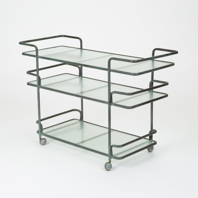 1980s Richard Frinier Bronze Bar Cart for Brown Jordan For Sale - Image 5 of 13