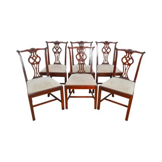 Hickory Chair Solid Mahogany Set of 6 Chippendale Style Dining Chairs