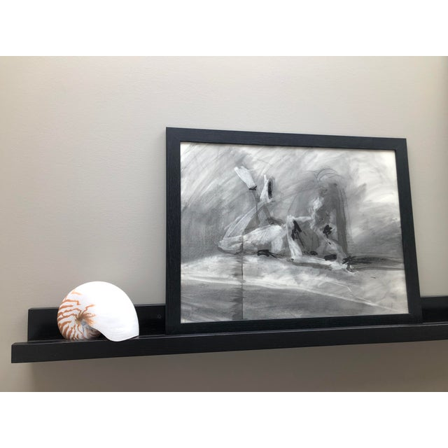 """Contemporary Contemporary Figure Drawing in Charcoal and Ink - """"Idle, Crossed Feet"""", by Artist David O. Smith For Sale - Image 3 of 12"""