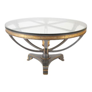 Glass Top Patinated Steel Center Table with Faux Bois Detail For Sale