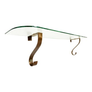 Glass and Brass Console Table For Sale