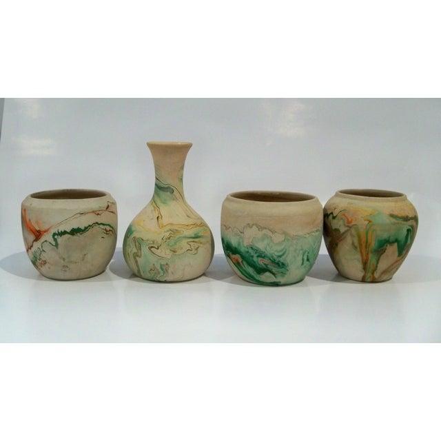 Green Vintage Roadside Nemadji Pottery in Orange & Green - Set of 4 For Sale - Image 8 of 8