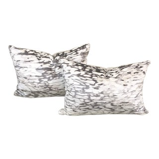 Abstract Holly Hunt Reflecting Pool Hand Printed Metallic Velvet Lumbar Pillows - a Pair For Sale