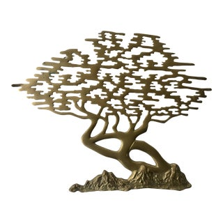 Mid Century Brass Wall Art Tree For Sale