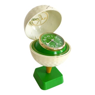 Fun 1980s Golf Ball on Tee Desk Clock For Sale