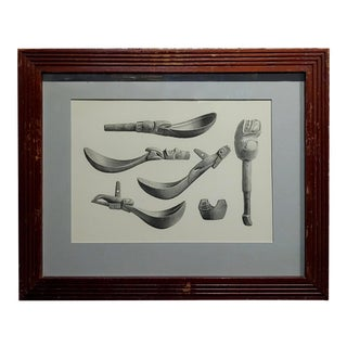 19th Century Engraving of Inuit Antique Carved Tools For Sale