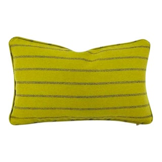 Osborne & Little Lomond Stripe Moss Green Self-Welt Lumbar Pillow Cover For Sale