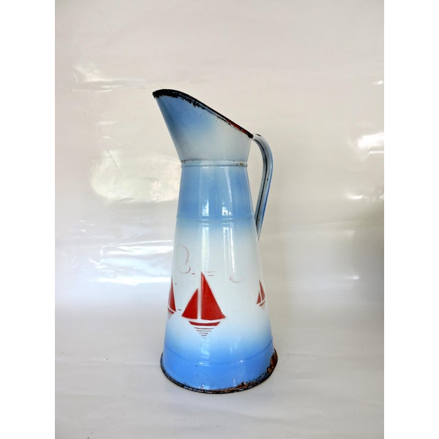 Enamel Large French Enamel Blue & White Pitcher or Jug - Red Yachts For Sale - Image 7 of 7
