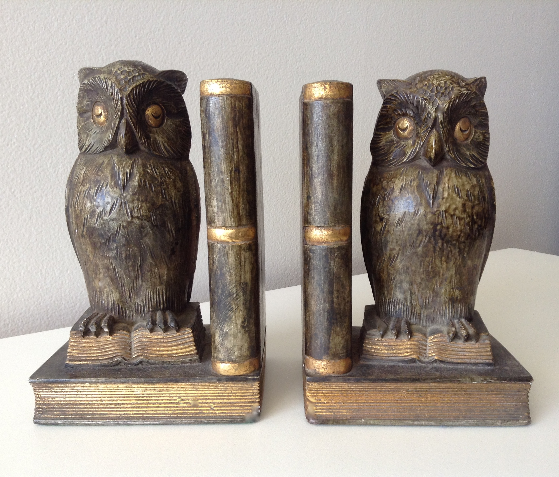 Plaster U0026 Gilt Owl U0026 Book Bookends   A Pair   Image ...
