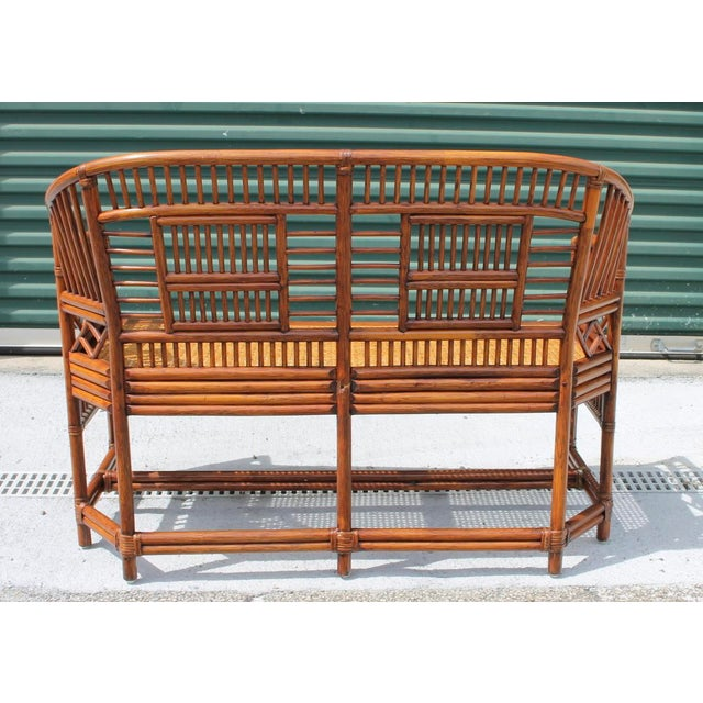 Mid 20th Century Vintage Mid Century Bamboo Rattan Pavilion Brighton Chinoiserie Chippendale Caned Settee For Sale - Image 5 of 10