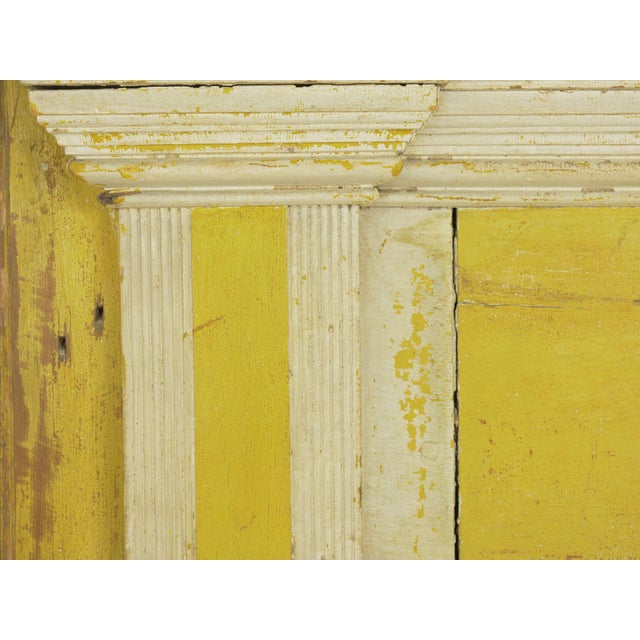 Neoclassical Federal Antique Fireplace Surround Mantel in Early Yellow & White Paint For Sale - Image 10 of 13