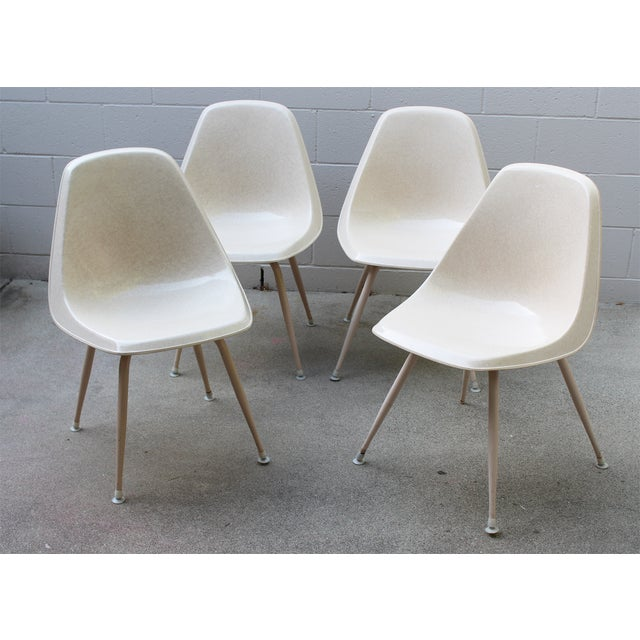 Mid-Century Cream Bucket Chairs - Set of 4 - Image 3 of 5
