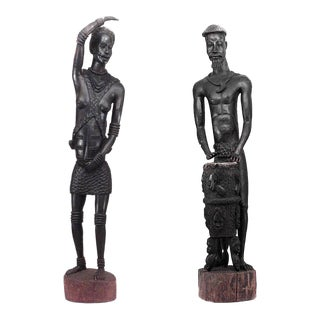 Post World War II African Ebonized Carved Sculptures - Set of 2 For Sale