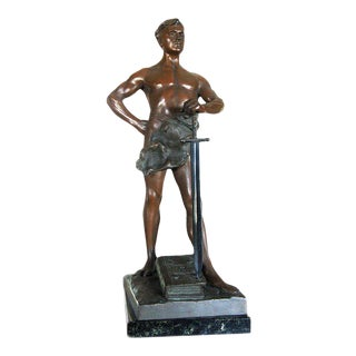 "Art Deco Nude Male Warrior God Bronze Statue ""Lex"", 1920 For Sale"