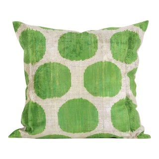 Large Green and Cream Silk Velvet Accent Pillow