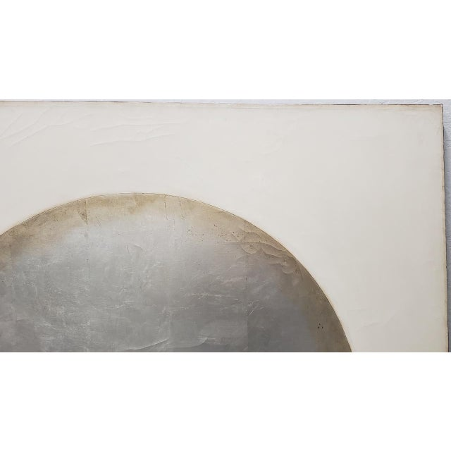 Large Scale Abstract Silver & Gold Oil Painting by Johnson C.1970 For Sale - Image 9 of 12