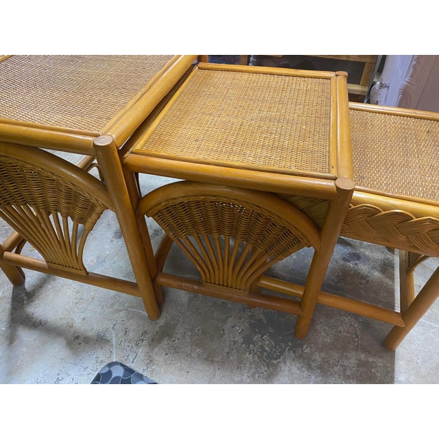 1970s 1970s Golden Palm Beach Bamboo and Rattan Nesting Tables - Set of 3 For Sale - Image 5 of 11
