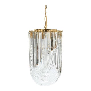 Venini Curved Crystal Glass Gilt Brass Chandelier For Sale