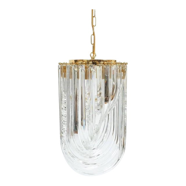 Venini Curved Crystal Glass Gilt Brass Chandelier For Sale